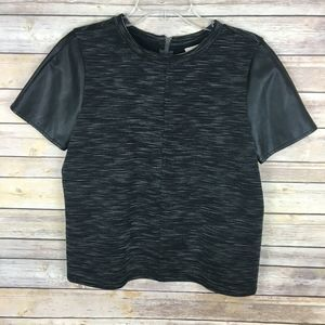 LOFT Knit Top Medium Black Faux Leather